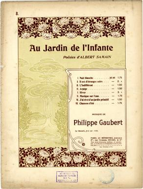 Browse art nouveau sheet music covers in the category for Au jardin de l infante